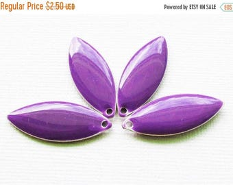 20% OFF Metal & Epoxy Solid Marquise Drops - Silver Plated Grape Purple (4 drops) - spa476
