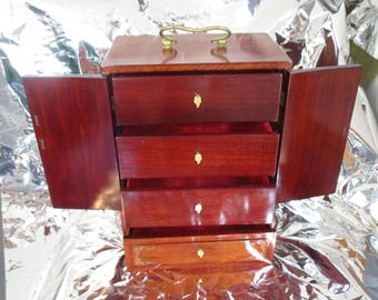 Large Jewelry Box Floral  Front with Gold Leaf Pulls