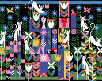 Cat Garden A3 print