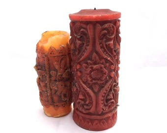Vintage FLORAL TEXTURED Wax Candles / Set Of Two 1960s Bohemian Candles