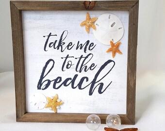 "Beach Decor Nautical Decor Starfish Sign - ""Take Me To The Beach"" - with Real Starfish - 8"" Square"