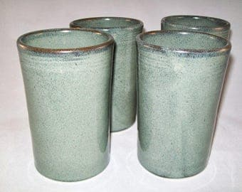 Christel special order-Slate Grey Tumblers Set of 8 --  Large Handmade Stoneware pottery tumbler cups