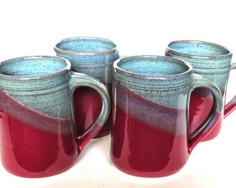 Set of 4 Large Handmade Ceramic Mugs  -- Blue Red Pottery Handmade Coffee Tea Cocoa Mug -- Ceramic Handmade Mug