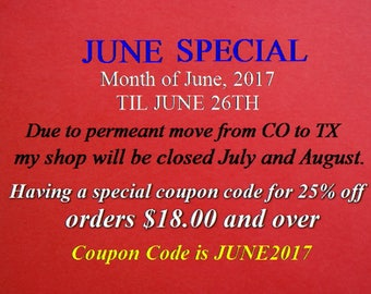 JUNE Special coupon code JUNE2017 good to June 26, Vintage