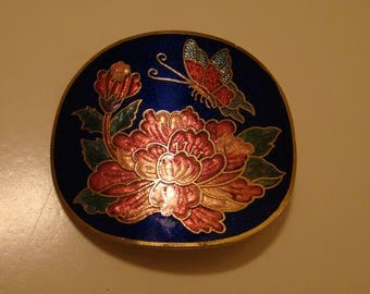 Vintage Cloisonne Cobalt Blue Butterfly and Flower Belt Buckle with belt fasteners