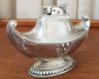 Vintage Lighter Table Top Aladdin Magic Lamp Genie Silver Plated Fruit Design Evans 1940s