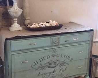 Vintage Hand painted Dresser with IOD Transfer
