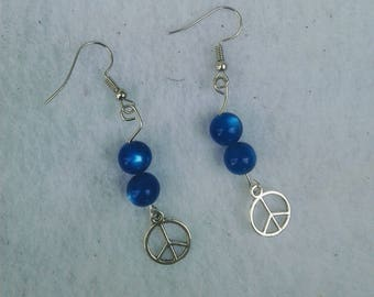 Peace and Love - dangle drop beaded hypo-allergenic earrings