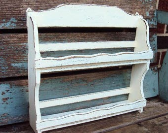 Vintage Shabby Chic Spice Rack Cabinet Wood Wall Hanging Stand Display Cupboard Jars French Country Farmhouse Decor Chippy Distressed paint