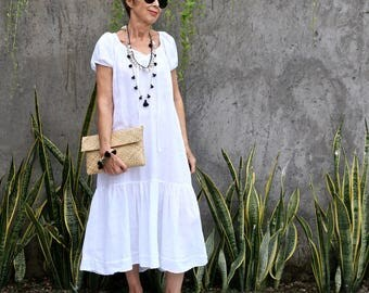 LINEN, Peasant Dress, Resort Wear, Bohemian, Tropical, Island Style, Black, White, Gray, Natural, International Size 6-24