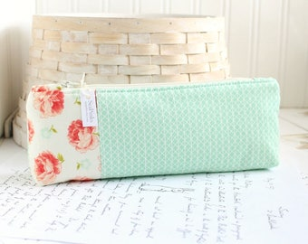 Pencil Case Mint and Coral Pencil Pouch Organizing Back to School Student