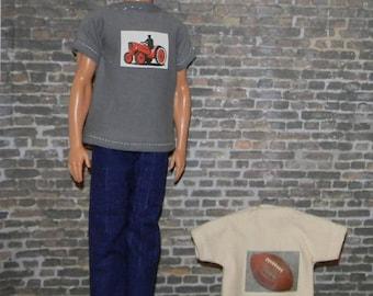 K3PC-29) Ken doll clothes, 2 printed Tshirts and 1 pants