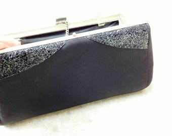 Vintage Little Black Bag Clutch with Bling