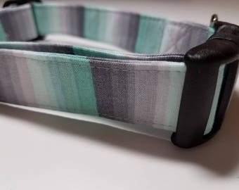 Turquoise Aqua and Grey Ombre Striped Summer Dog Collar