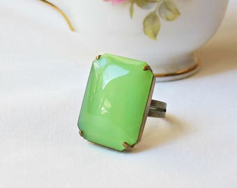 Lime Green Cocktail Ring Statement Estate Style Absinthe Octagon. Vintage Glass Stone Spring Jewellery Apple. Jewelry Two Cheeky Monkeys