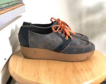 Suede Platform Sneakers // Vintage 70's //Womens Size 7 1/2