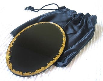 Vintage Scrying MIRROR Black Divination Witches Mirror Wheel of Fortune Divination Gypsy Glass Pagan Altar Tools GOLD FOIL