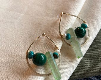 Beaded post hoop 'glass half full' earring. Gold fill, malachite, pearl, turquoise, quartz crystal
