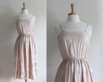 1970s Dress / Vintage Umi Collections Beige Silk Slip Dress