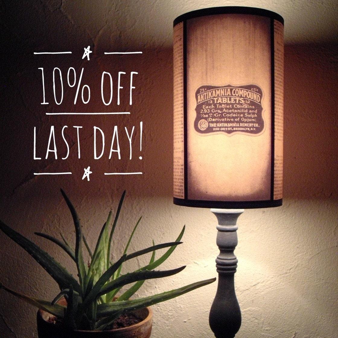 Vintage Medicine yellow lamp shade Lampshade mens gifts