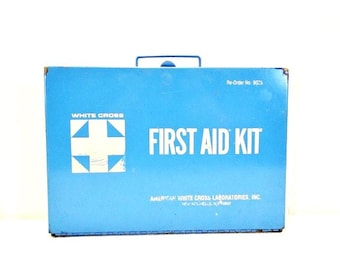 Vintage First Aid Kit Blue and White American White Cross Lab Inc. Metal Box