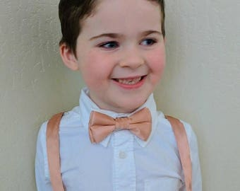 SALE Rose Gold Bowtie and Suspenders. Infant, toddler, boys. 2 weeks before shipment. Rose Gold hardware!