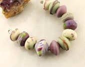 Lampwork Beads Set Organic, Etched Matte Glass, Rustic, Purple, Lavender, Green, Ivory