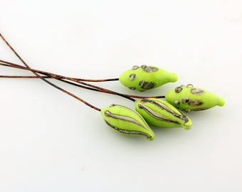 Lampwork Glass Bead Head Pins Etched Matte Lime Green Headpin Rustic Pod on Antique Copper Wire