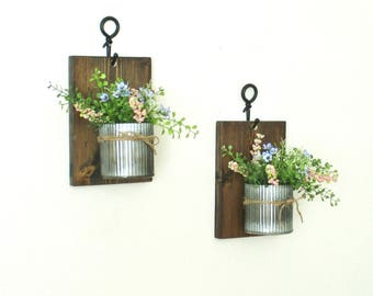 New..Hanging Industrial Farmhouse Wall Decor.. 2 Zinc Corrugated Pots..Rustic Stained Boards..Wall Decor..Wall Sconces