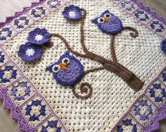 Handmade crochet baby Owl nursery blanket . Dress up your baby's room or stroller. Approximately 33 inches by 33 inches