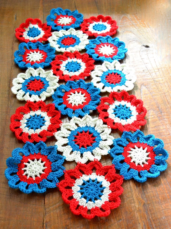Make your ordinary dining look fancy Hand Crocheted Patriotic flowers Table-runner Doily made with cotton thread, Red White & Blue colors .
