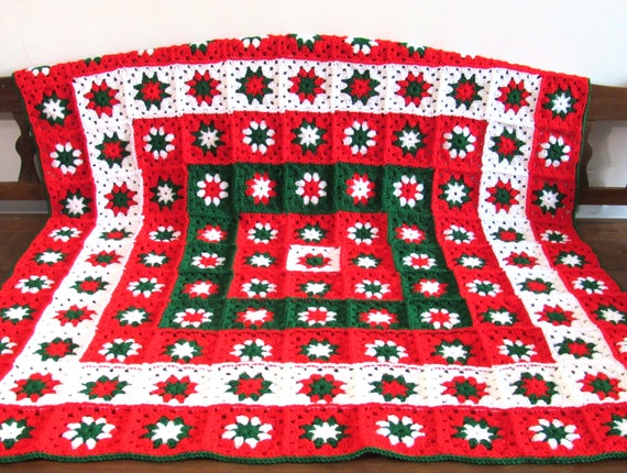 Handmade Crochet Christmas blanket, afghan, throw granny squares 51.5 by 51.5 inch