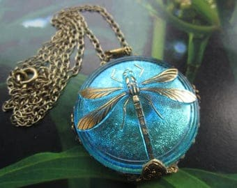 Shimmering Aqua Glass Dragonfly Necklace In 1930's French Filigree