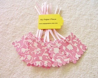 12- Elegant Pink Flowers Gift Tags -   2 In.  Scalloped Square-Prestrung