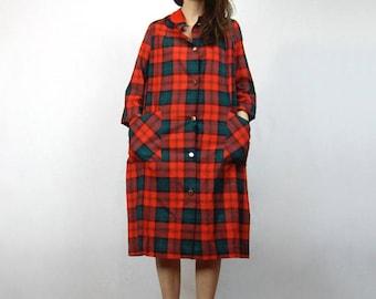 Plaid Nightie Vintage Lumberjack Plaid Nightgown Red Green Christmas Pajamas Pjs Pockets Holiday Tent Dress - One Size fits Most M L XL 2XL