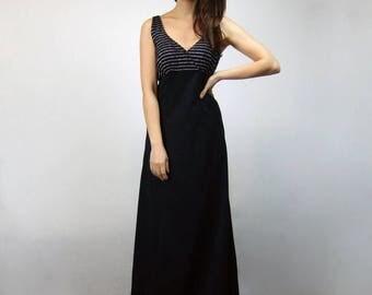 Metallic Party Dress Black Silver Long 70s Vintage Maxi - Small S
