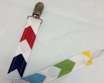 On Sale Rainbow Chevrons Paci Binky Clip