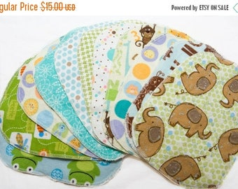 On Sale Sweet Bobbins Cloth Wipes - Gender Neutral Mixed Print Starter Set - 12 wipes - flannel and OBV - SOFT - 6x8 size