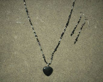 Onyx Heart Necklace and Earrings