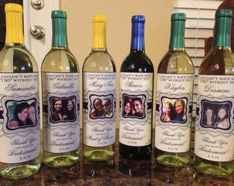 Private Listing for idovburnett186 Wine Labels - Personalized Bridesmaid Wine Labels - Chevron Bridesmaid Gifts