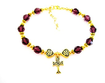 FEBRUARY Birth Month Amethyst  SWAROVSKI  Crystal Single Decade ROSARY Bracelet- Irish Bracelet