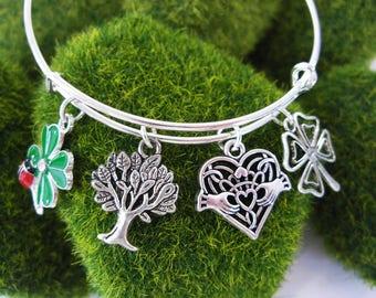 Silver BANGLE  IRISH Tree of Life Four Leaf Clover Ladybug  IrishCladdag Charm Bracelet-Ireland Jewelry