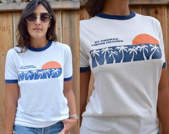 Vintage 80s St. Thomas VIRGIN ISLANDS Ringer Tee