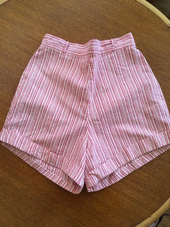 1950s Short Stuff by Wolfson Red and White Stripe High Waist Shorts-XS