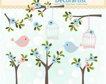 ON SALE birds birdcage clipart, branch tree clipart, blue pink  flowers clipart, Digital clipart, invitations, scrapbook