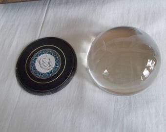 Vintage Heavy  Glass Dome Paper Weight