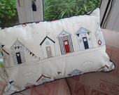 Beach Hut, Boat and Lighthouse Cushion with Inner, Nautical, Seaside, Sailing Theme