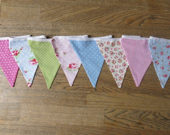 Designer Cotton Fabric Bunting - over 3 metres, 16 flags, Cath Kidston and other designer fabrics