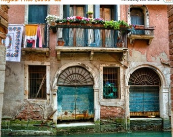 SUMMER SALE-Ends July 5- Venice Photograph, Italy Photo Hanging Laundry Balcony Canal Window House Flowers Shabby Chic Red Wall Art ven35