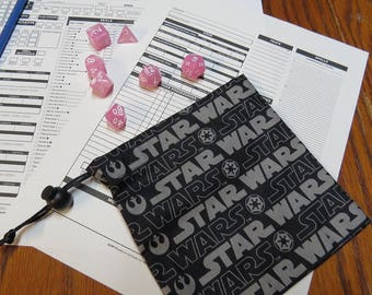 Star Wars Dice bag Includes Polyhedral Dice Set of Your Choice!